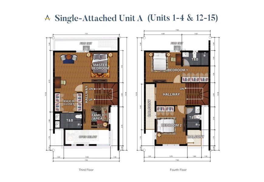 Brizlane Residences Unit A -3rd and 4th floor plan