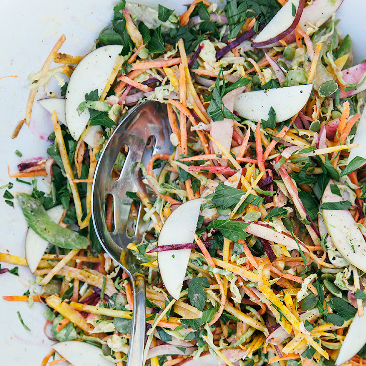 Shredded Brussels Sprouts + Fall Veg Salad W/ Garlicky Orange Tahini ...