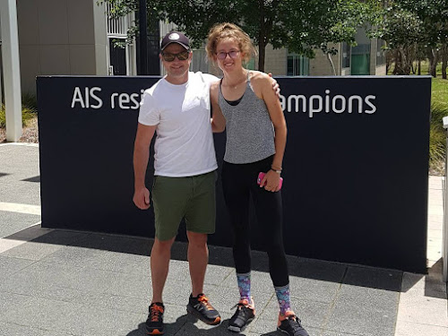 Bella Stewart, right, with one of her coaches Tim Vaughan at the Australian Institute of Sport in Canberra.