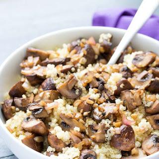 Balsamic Garlic Roasted Mushrooms and Quinoa.