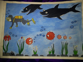 Photo: Siddhi-chan collection number 2, a diver and sharks, watch out!! With sea urchins and mysterious deep ocean flowers. 28th November updated - http://jp.asksiddhi.in/daily_detail.php?id=376