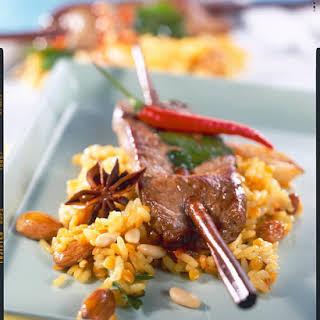 Skewered Lamb on Aromatic Rice.