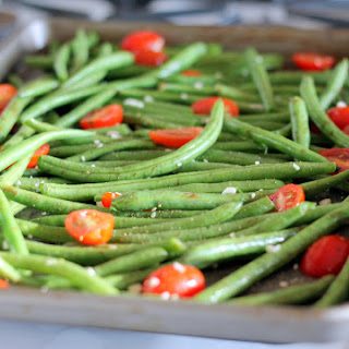 Roasted Garlic Parmesan Green Beans with Tomatoes.