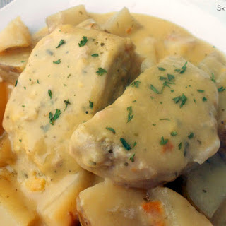 Slow Cooker Creamy Ranch Pork Chops and Potatoes.