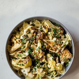 Roasted Cauliflower Pasta with Lemon Tahini Sauce.