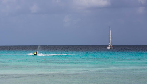 A cruise traveler jetskis in Bridgetown, Barbados.