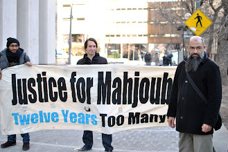 Photo: Mohammad Mahjoub and his supporters outside the Federal Court at 180 Queen Street West in downtown Toronto.