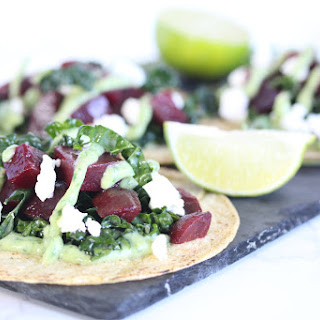 Beet and Kale Tacos with Avocado Sauce.