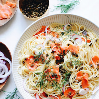 Creamy Spaghetti with Smoked Salmon and Fried Capers.