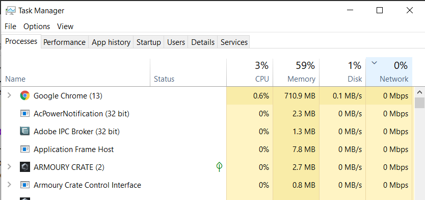 Task Manager window with the processes arranged in order of highest network usage