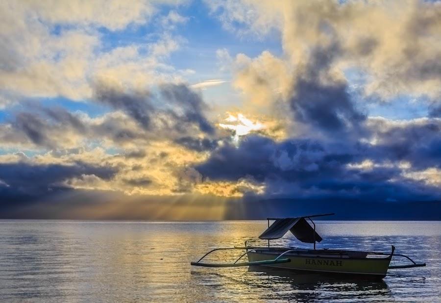Into The Light by Arjayson Barantez - Landscapes Travel ( clouds, sea, ocean, sunrise, boat )
