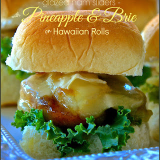 Glazed Ham Sliders with Pineapple & Brie on Hawaiian Rolls