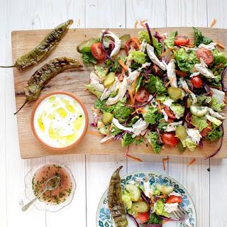 Turkish Chicken Salad with Home-made Cacik Yogurt Sauce