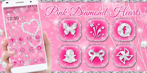 Love Pink Diamond Heart Theme- screenshot thumbnail