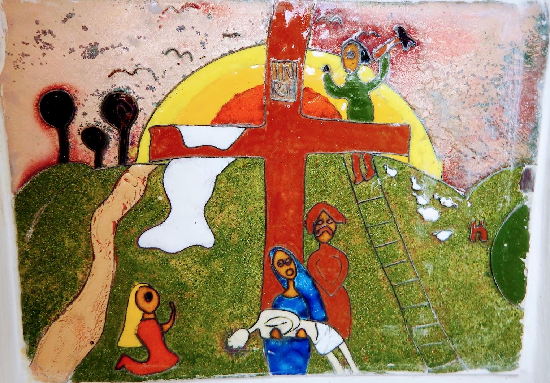 Pusztazámor - gyermekrajz-keresztút a temetőben