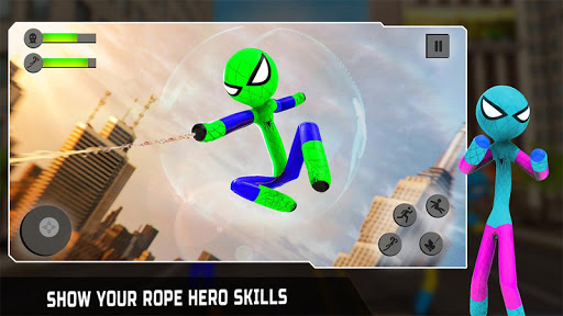 Flying Stickman Rope Hero Grand City Crime apkpoly screenshots 12
