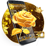 Vivid 3D golden rose theme Icon