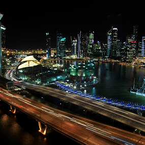 Singapore nights by Eric Ebling - Buildings & Architecture Bridges & Suspended Structures ( skyline, canon 5d mark2, night, singapore, city )