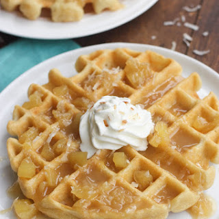 Coconut Cream Waffles with Pineapple Coconut Syrup.