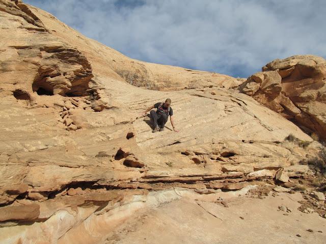 Climbing down below the rim