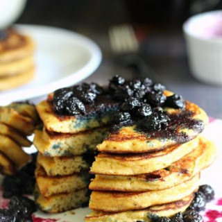 Paleo Blueberry Pancakes with Maple Blueberry Compote.