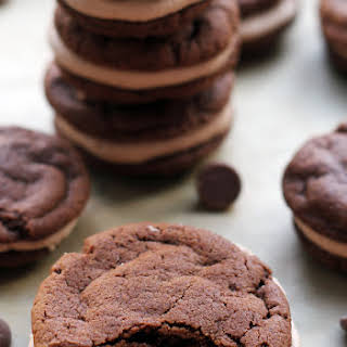 Chocolate Cookie Sandwiches with Malted Milk Chocolate Buttercream.