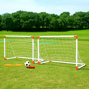 Set de joaca, 2 porti de fotbal cu pompa de umflat, minge de fotbal, 8 taruse