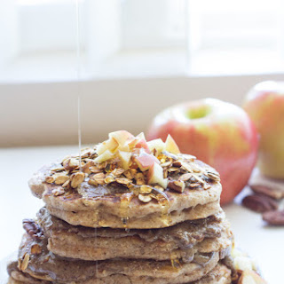 Apple Cinnamon Oat Pancakes with Pecan Butter and Crunchy Nut Granola