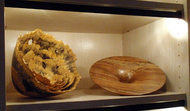 """Photo: Nested natural-edge bowls by Mike Mahoney and one of Phil Brown's signature """"flares""""."""
