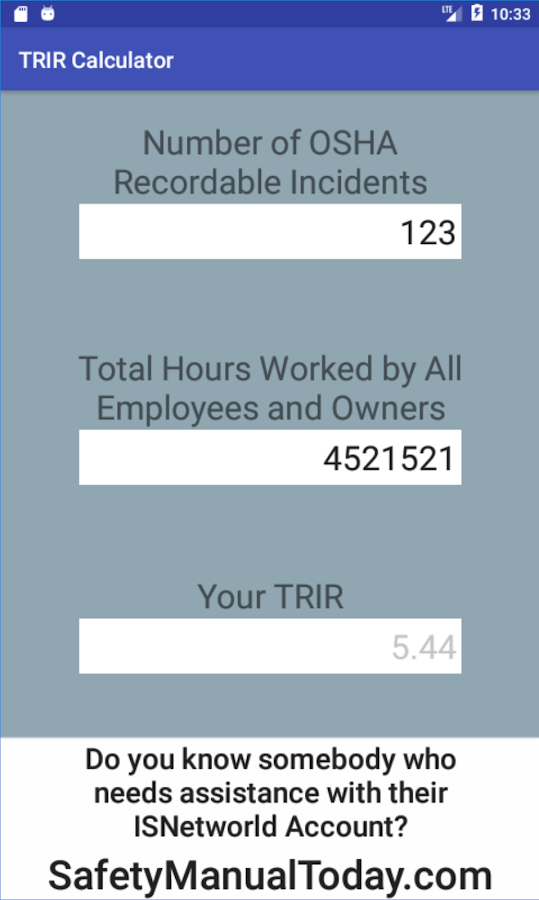 TRIR Calculator- screenshot