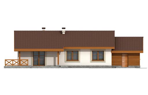 Anulka z garażem w technologii drewnianej - Elewacja tylna