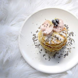 Candied Blueberry, Lavender, & Rose Petal Pancakes