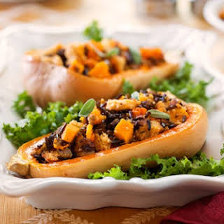 Butternut Squash With Whole Wheat, Wild Rice, & Onion Stuffing.