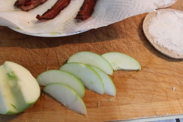 Core and thinly slice apple. I used 2-3 slices of apple per sandwich.