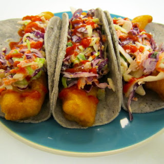 Beer Battered Fried Trout Tacos with Spicy Horseradish Coleslaw