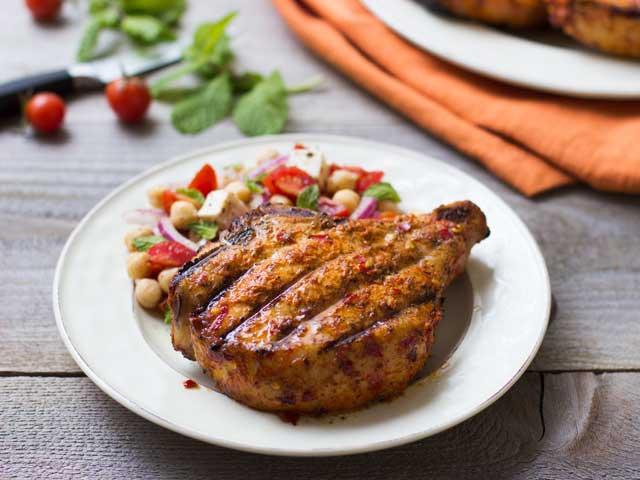 Piri-Piri Pork Chops with Chickpea and Tomato Salad Recipe