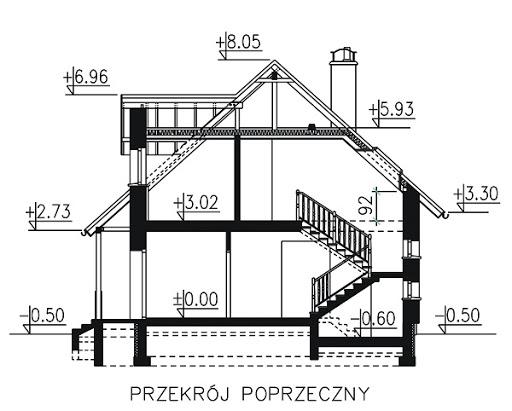 BW-17 z garażem jednostanowiskowym - Przekrój