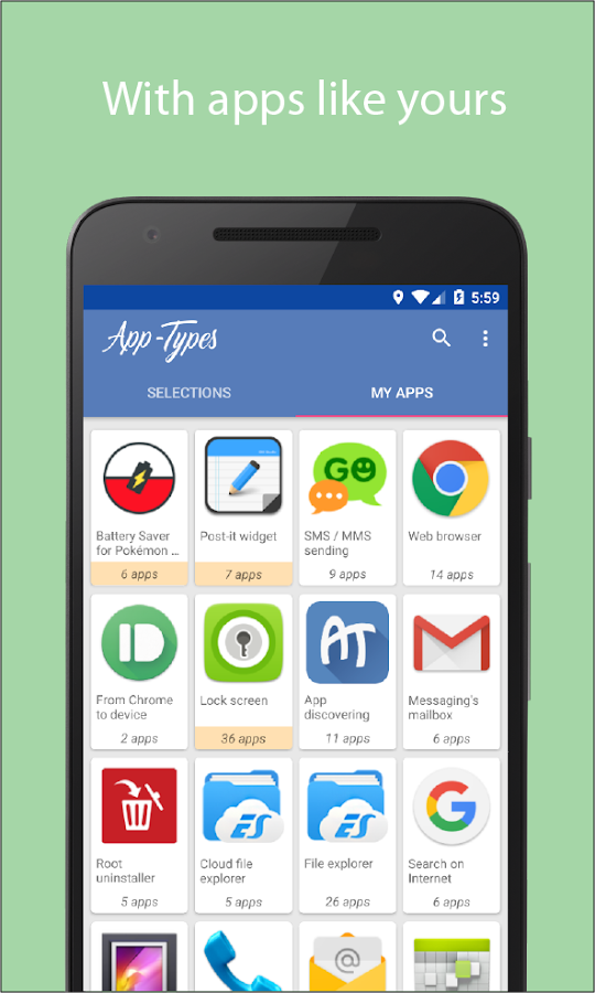 App-Types: apps sorted by type- screenshot