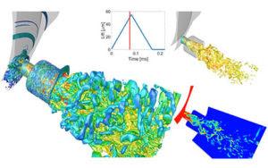 Компания Delphi Technologies представила расчёт процесса впрыска топлива в бензиновом двигателе.