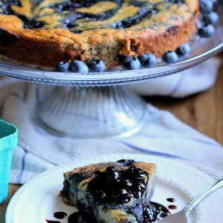 Banana Cake with Blueberry Compote Swirl.
