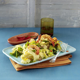 Citrus, Cabbage and Shrimp Pasta