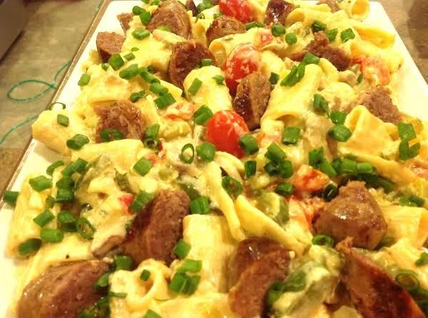 Creamy Rigatoni With Veggies And Italian Sausage