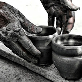 Working Hands by Ayush Phillip - Artistic Objects Still Life ( hands, objects, monochrome, craft, artistic, working, black and white, travel, street photography, clay,  )