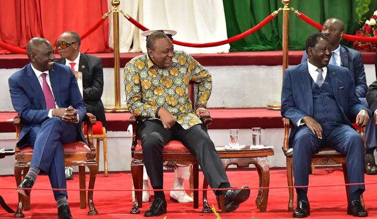 Deputy President William Ruto, President Uhuru Kenyatta and ODM leader Raila odinga during the BBI launch at the Bomas of Kenya on November 27, 2019.