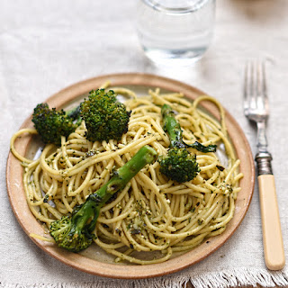 Chargrilled Broccoli and Spaghetti with Lemon and Basil Pesto Recipe