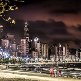 Camboriu At Night by Rqserra Henrique - City,  Street & Park  Night ( brazil, rqserra, buildings, night, colorfull, beach, city,  )