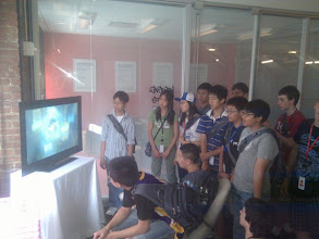 """Photo: Middle school class learns about """"Generation 243"""" in the Data Poetics show at Google, curated by the Chelsea Art Museum."""