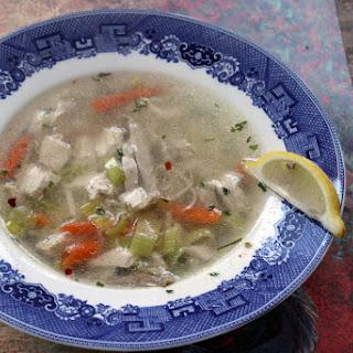 Chicken Soup with Leeks and Orzo - Pırasa ve Arpa Şehriyeli Tavuk Çorbası