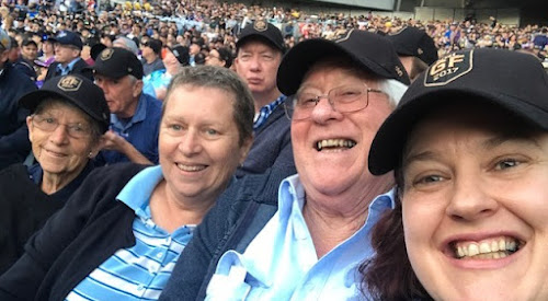 The Courier's NRL tipping competition winners Veronica Dewar, Caryn Saunders, John and Glenda Simpson in their seats at the Grand Final on Sunday