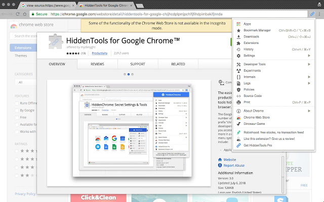 HiddenTools for Google Chrome™